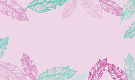 Cute background with feathers. Vector card design with border in bohemian style. stock illustration