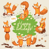 Cute background with foxes in vector Royalty Free Stock Photography