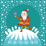 Cute  background with funny Santa. Royalty Free Stock Photo