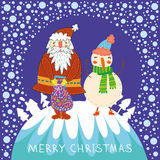Cute  background with funny Santa Royalty Free Stock Photo