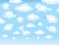 Cute background, funny toy clouds. Stock Photography