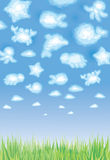 Cute background, funny toy clouds, sealife. Stock Photos