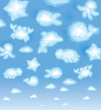 Cute background, funny toy clouds, sealife. Royalty Free Stock Image