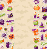 Cute Background for Halloween Party with Colorful Flat Icons Stock Photo