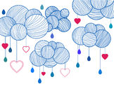 Cute background with hand drawing clouds Royalty Free Stock Image