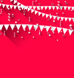 Cute background with hanging pennants for carnival party in tren Stock Photos