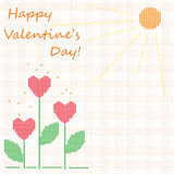 Cute background Happy Valentine's Day!. With hearts and sun, vector Stock Photo