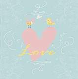 Cute background with heart and birds Stock Photo
