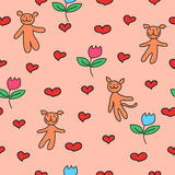 Cute background. With hearts, dog, cat, bear and flowers Royalty Free Stock Photo