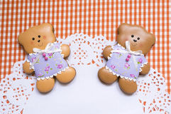 Cute background with honey-cake bears Royalty Free Stock Photography