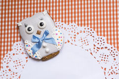 Cute background with honey-cake owl Royalty Free Stock Photo