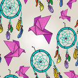 Cute background with origami and dream catchers Stock Photos