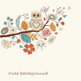Cute background with owl Royalty Free Stock Images