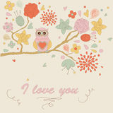Cute background with owl Royalty Free Stock Photography