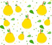 Background with pears pattern, leaves and dots. Cute background with pears, leaves and dots. Clean design of seamless pear pattern Royalty Free Stock Images