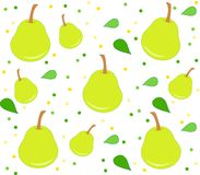 Background with pears pattern, leaves and dots. Cute background with pears, leaves and dots. Clean design of seamless pear pattern Stock Photos