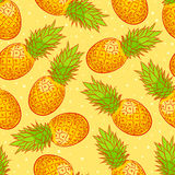 Cute background with pineapple Stock Photos