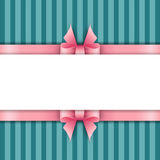 Cute background with pink ribbons on a blue background Royalty Free Stock Photos