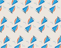 Blue ships and seagulls pattern on beige background vector illustration