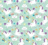 Seamless pattern. Unicorns. Cute background vector illustration