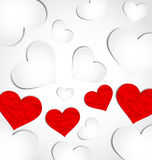 Cute background for Valentines day with paper hear Royalty Free Stock Images