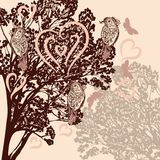 Cute background with vector tree and birds Royalty Free Stock Image