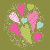 Cute background with vintage hearts Stock Images