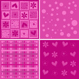 Cute backgrounds. Background with decorative ornaments and hearts, vector Stock Images