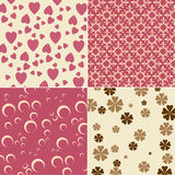 Cute backgrounds. Vector illustration of cute backgrounds with hearts and flower motives Royalty Free Stock Photo