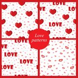 Cute backgrounds with love and hearts for Valentine's Day, seamless patterns. Vector illustration Stock Photos