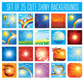 25 cute backgrounds with sky. Vector set of design elements - 25 cute backgrounds with sky Stock Photos