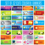 32 cute backgrounds. Vector set of design elements - 32 cute backgrounds Royalty Free Stock Images