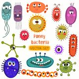 Cute bacteria set. Stock Image