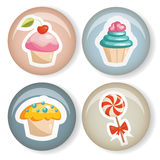 Cute badges. With sweets, illustration Stock Photos