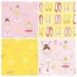 Cute Balerina Background Set Stock Images
