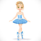 Cute ballerina girl in blue dress Royalty Free Stock Image