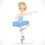 Cute ballerina girl dancing in blue dress Stock Photos