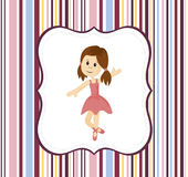 Cute ballerina girl with label frame on a stripey background Royalty Free Stock Image