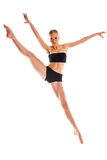 Cute ballerina isolated on white background in training suit Stock Photo