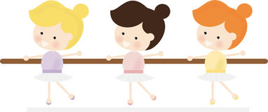 Cute Ballerinas. Illustration of a cute ballerina trio Stock Illustration