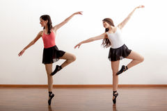 Cute ballerinas rehearsing Stock Photos