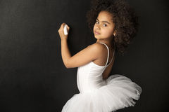 Cute ballet dancer drawing with a chalk Royalty Free Stock Photos