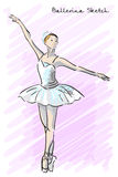 Cute Ballet dancer girl sketch style. Old hand drawn imitation. Vector Stock Images