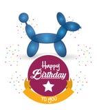 Cute balloon dog happy birthday confetti ribbon Stock Photo