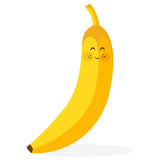 Cute banana. Illustration of a cute smiling banana Stock Photos