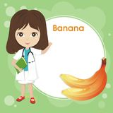 Cute Banana with little girl doctor. Cute Banana and little girl doctor, with blank area for text, yellow banana , with abstract background, and blank areas to Stock Image