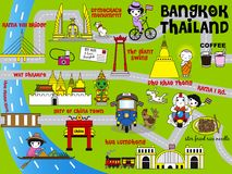 Cute Bangkok Thailand Guide Map illustration set Stock Photo