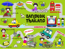 Cute Bangkok Thailand Guide Map illustration set Stock Photography