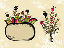 Cute banner and bouquet with flowers and skull. Royalty Free Stock Images