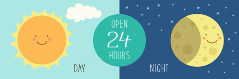Cute banner for day and night shop with hand drawn smiling cartoon characters of Sun and Moon. For your decoration Royalty Free Stock Images